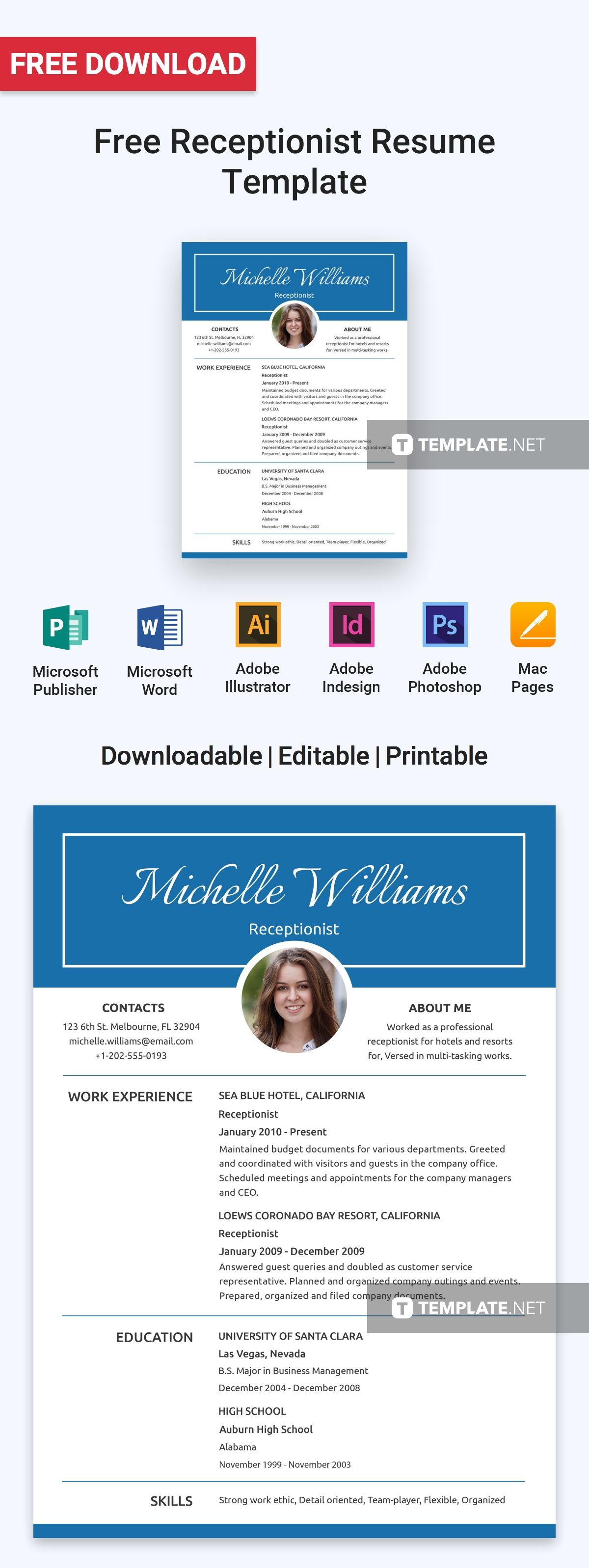Free basic receptionist resume template resume cv