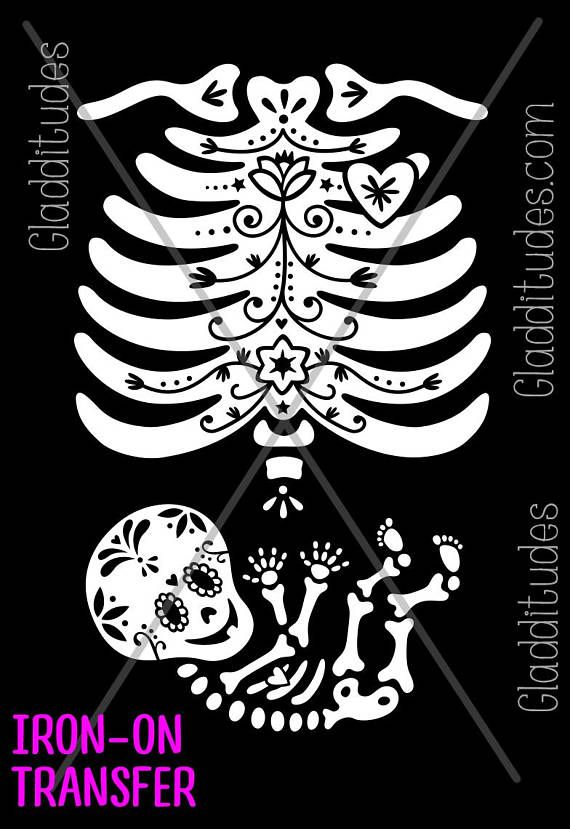367cacbd2a2b6 DIY Iron-on Transfer - Sugar Skull Skelly Baby Maternity Skeleton in ...
