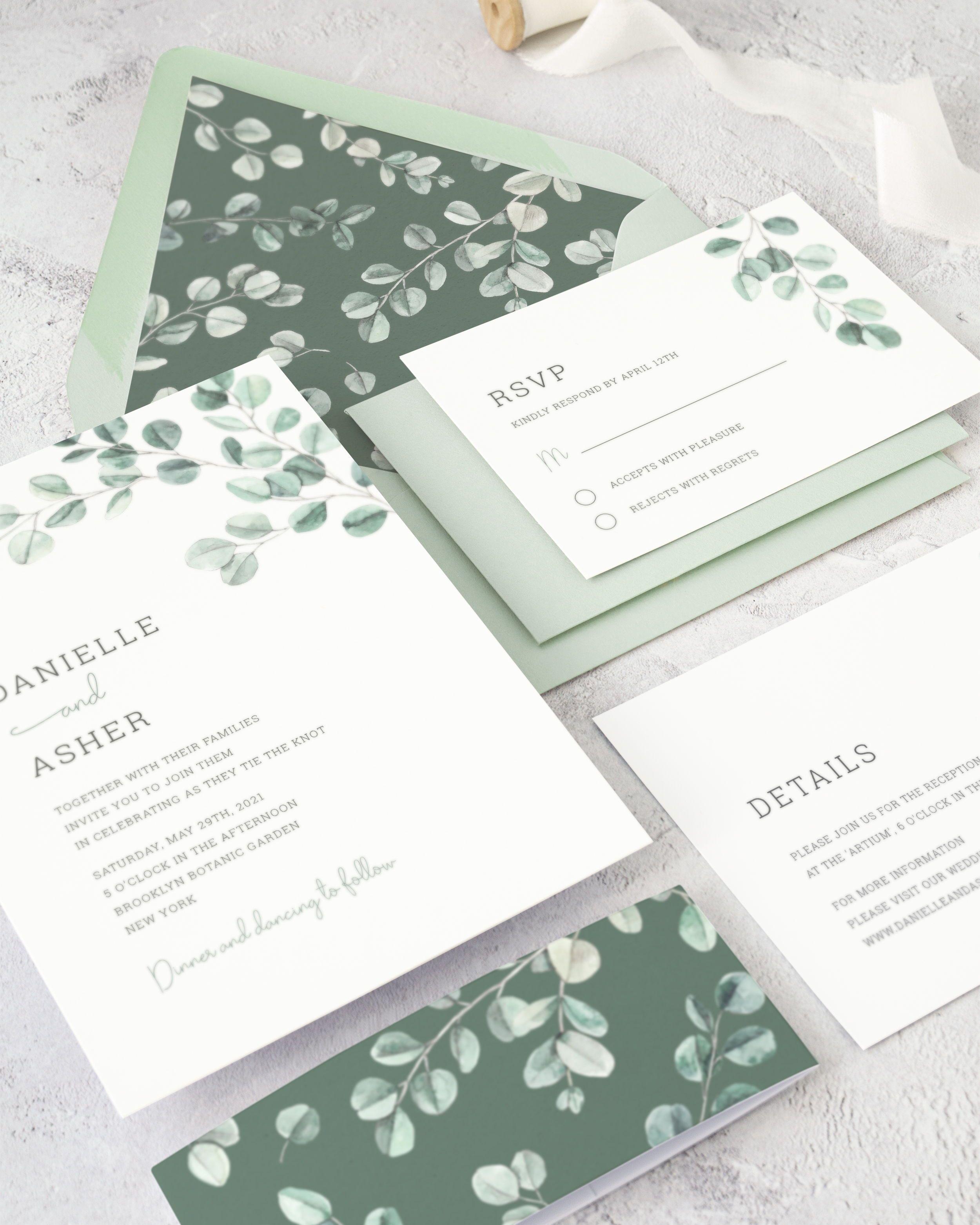 Eucalyptus Wedding Invitation Suite Watercolor Greenery Etsy In 2020 Wedding Invitations Eucalyptus Wedding Invitation Printable Wedding Invitations