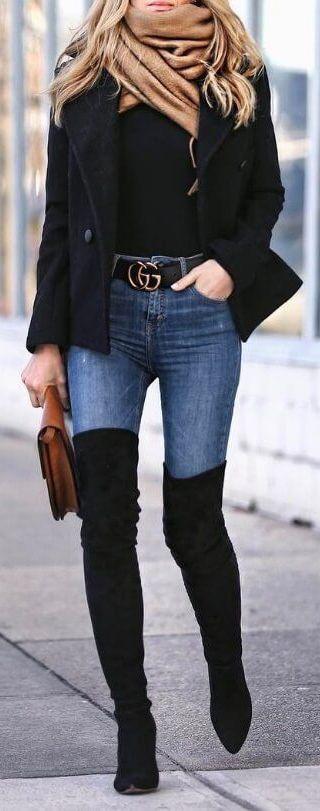 2020 Kis Kombinleri Dizustu Cizme Siyah Suet Kot Pantolon Siyah Kazak Tarz Moda Moda Moda Stilleri