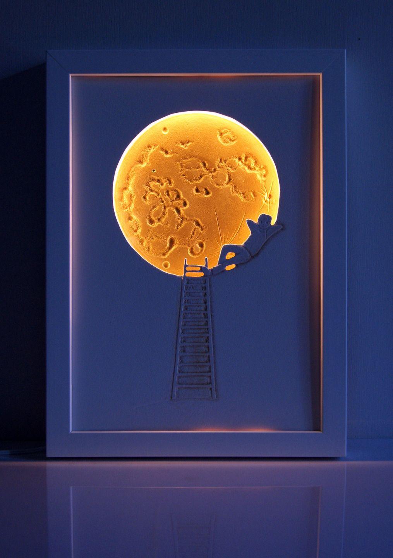"""Veilleuse décorative pour chambre d'enfant: """"l'enfant de la lune"""""""