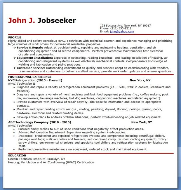 Hvac Technician Resume Sample  Creative Resume Design Templates
