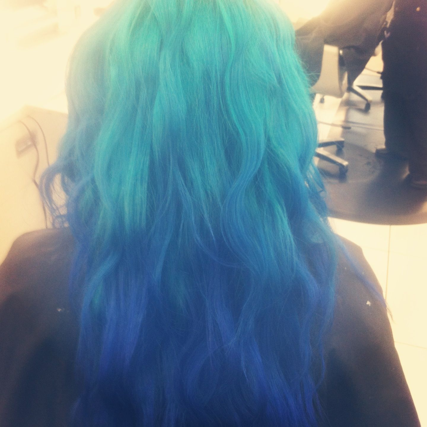 Blue Ombre With Manic Panic Hair Dyes Atomic Turquoise And Shocking Blue Manic Panic Hair Dye Manic Panic Hair Dyed Hair