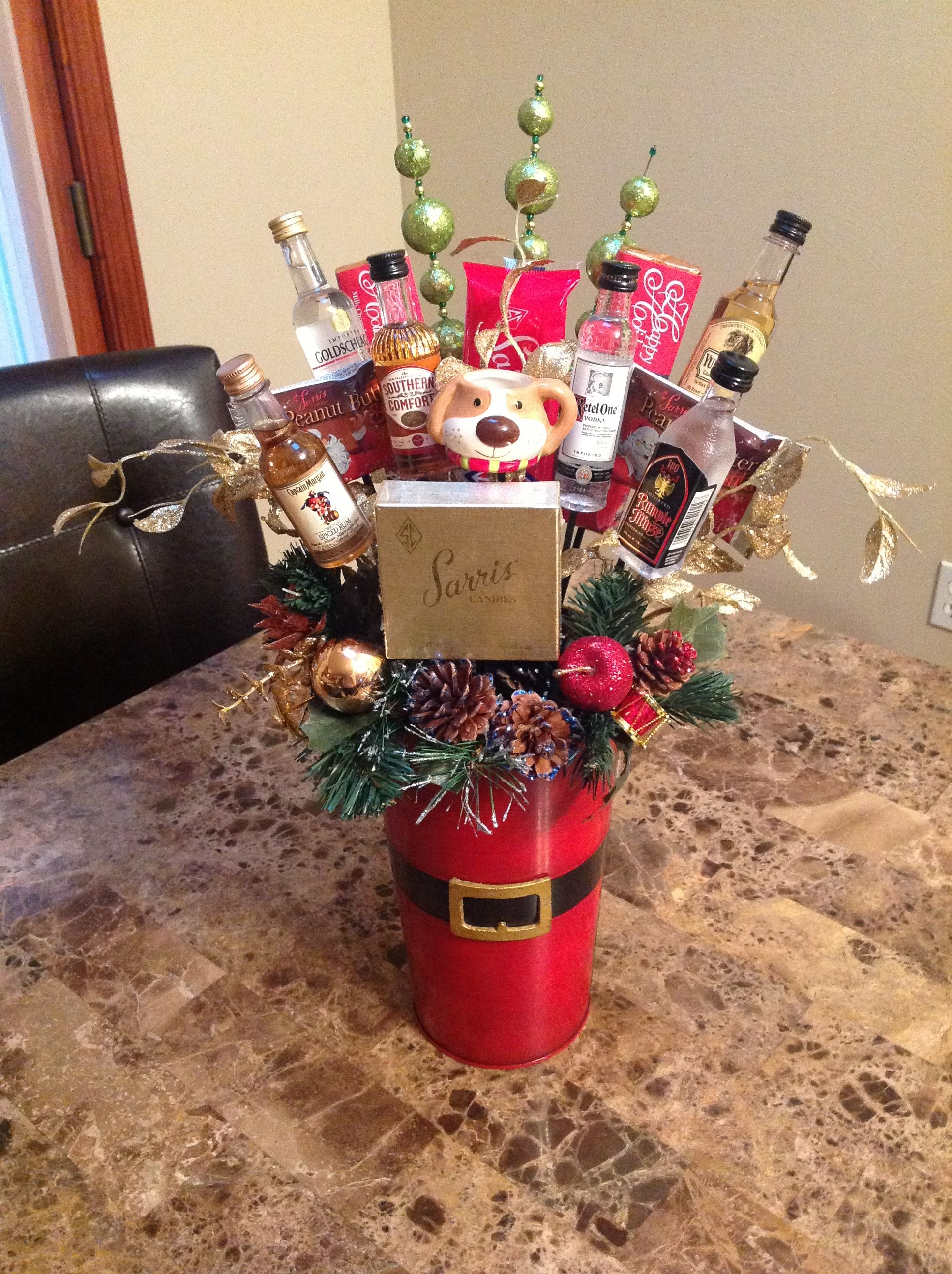 Mini Liquor Bottle And Chocolate Christmas Basket