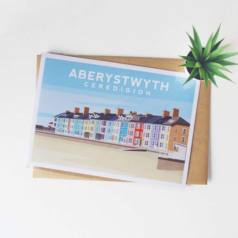 Aberystwyth Art Print, North Wales Travel Print, Wales Poster, Aberystwyth Illustration, Ceredigion Wales Wall Decor, Welsh Wall Art #northwales