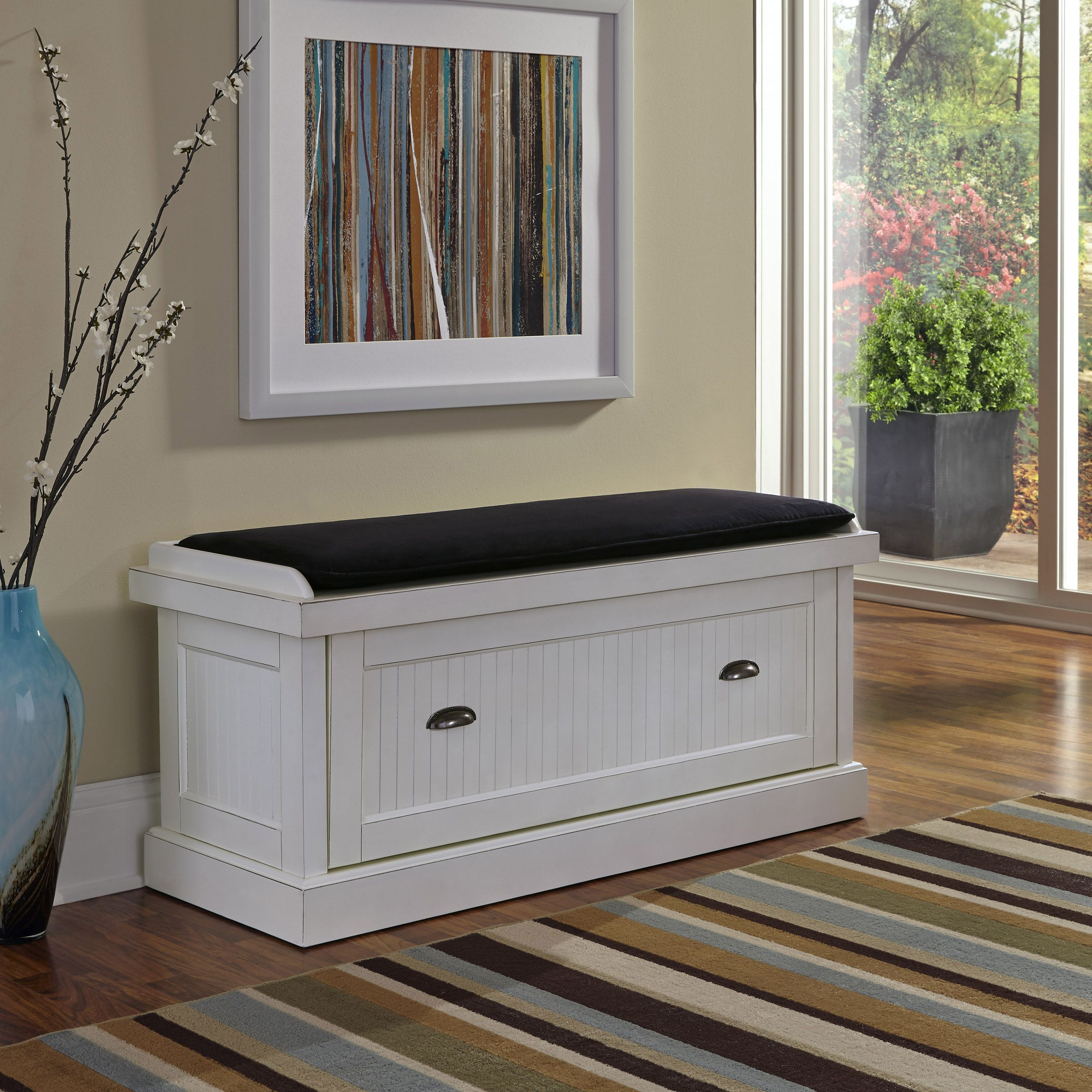 @Overstock - Nantucket Distressed Upholstered Bench - Give your home a cozy and inviting atmosphere with the Nantucket Upholstered Bench. Its sanded worn edges and distressed white finish provide the casual elegance that's great for any home d�cor style. http://www.overstock.com/Home-Garden/Nantucket-Distressed-Upholstered-Bench/8880285/product.html?CID=214117 $224.99