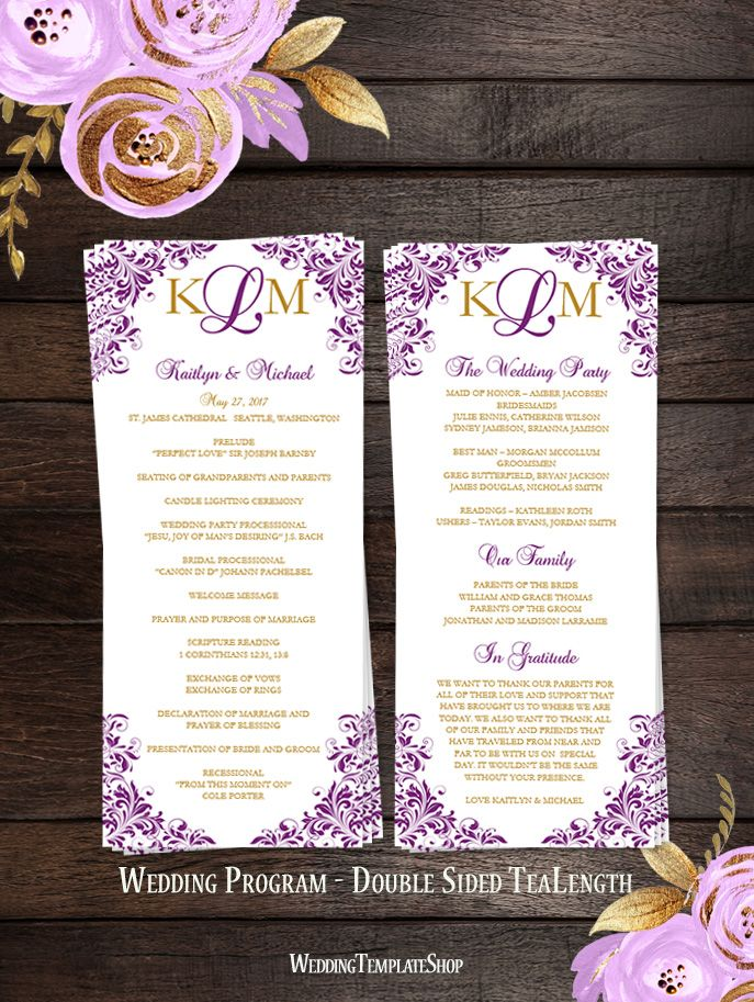Wedding Program Diy Printable Order Of Service Templates Purple