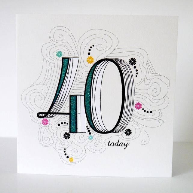 40th birthday card folksy cards and invites pinterest 40th 40th birthday card folksy bookmarktalkfo Choice Image