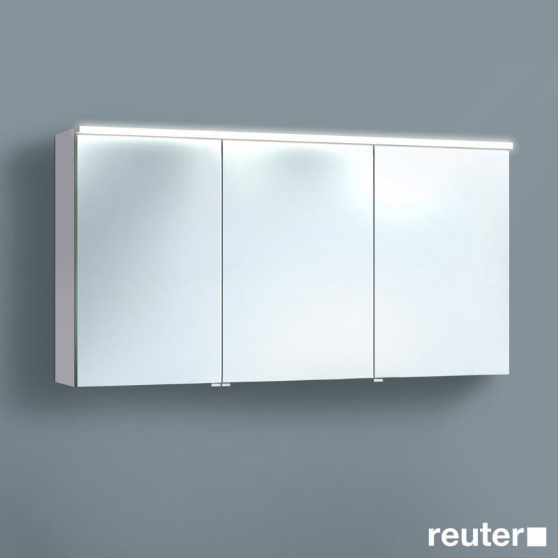 Burg Teno Spiegelschrank mit horizontaler LED-Aufsatzleuchte weiß hochglanz/verspiegelt/weiß glänzend, Version links - SPFO120F1687 | Reuter Onlineshop