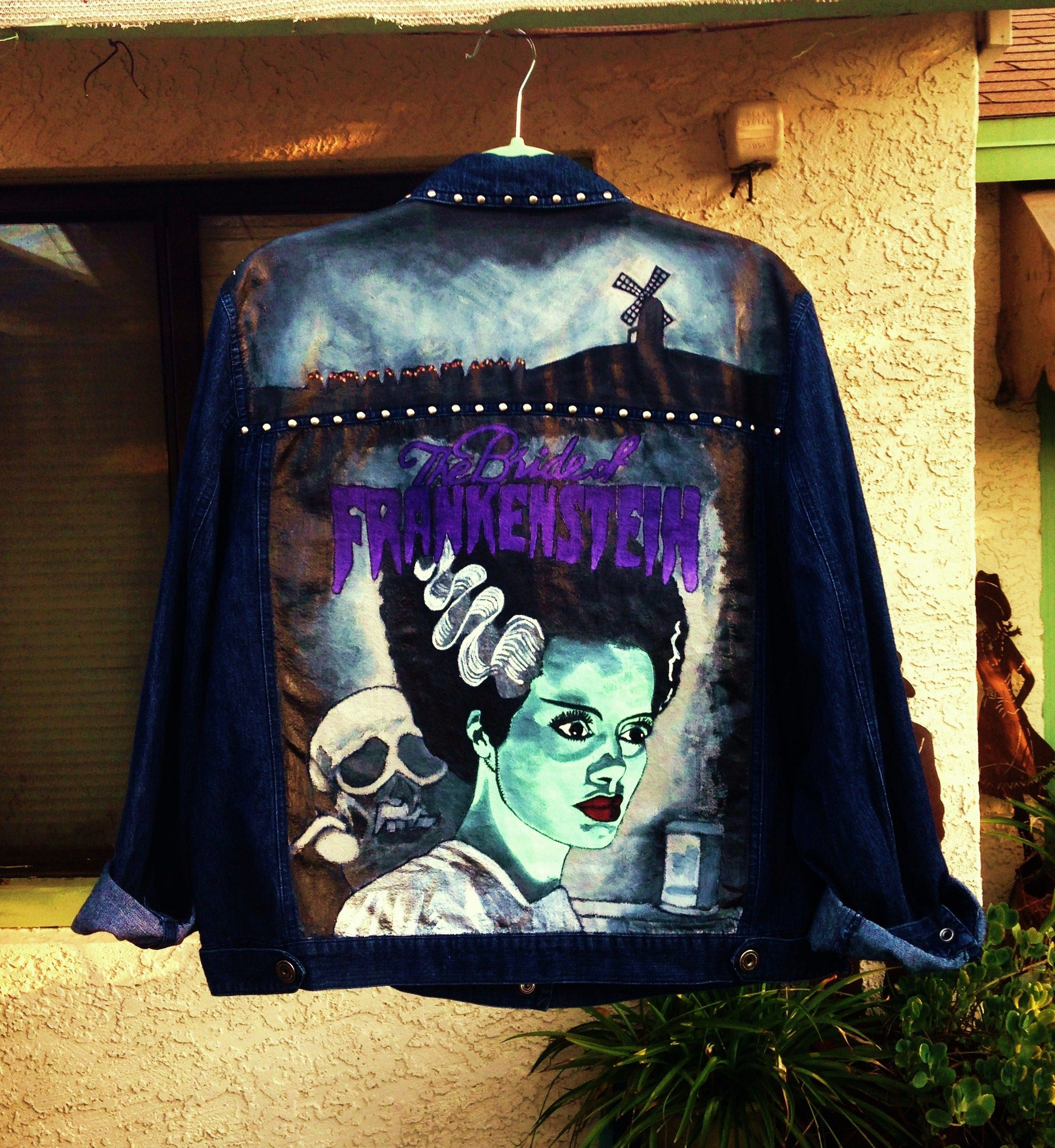 The bride of frankenstein custom painted on the back of a denim