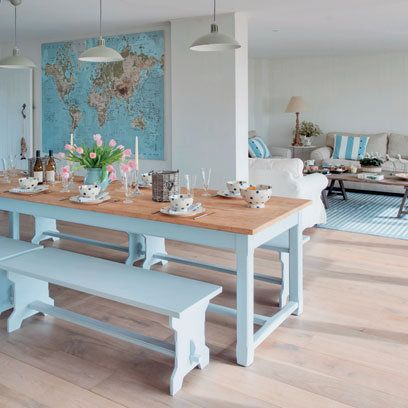 Painted Dining Room Table With Benches Simple Old Maps Framed