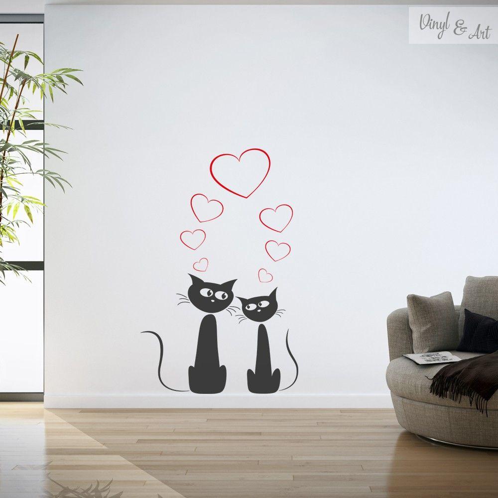 Vinilo Adhesivo Decorativo Animales Gatos Enamorados El Felis