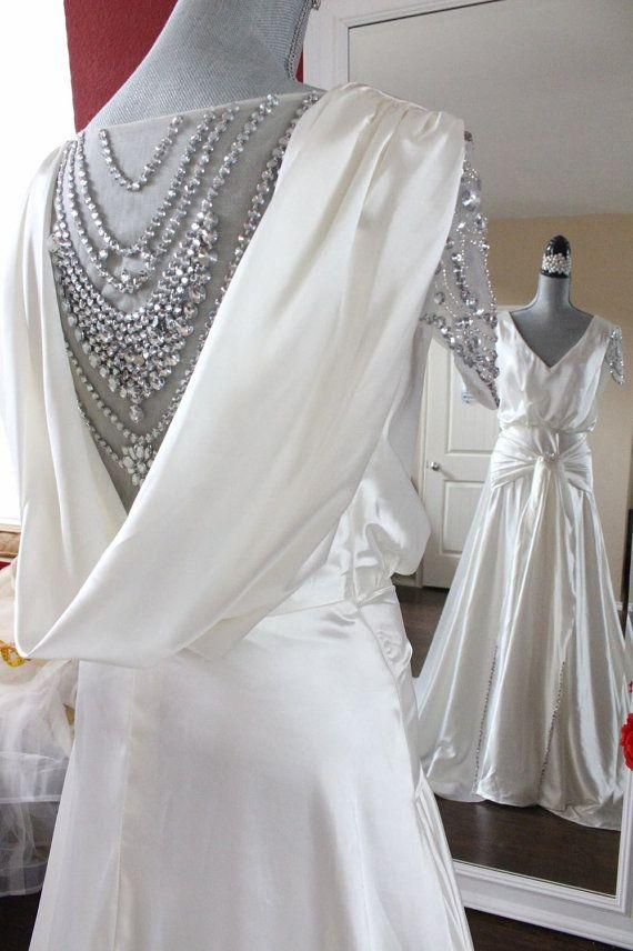 Gatsby Wedding Dress Emulation Silk Victorian wedding dress Aline ...