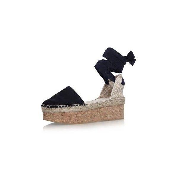43724a565612 Kupkake Navy High Heel Wedge Sandal by Carvela Kurt Geiger (£49) ❤ liked on  Polyvore featuring shoes