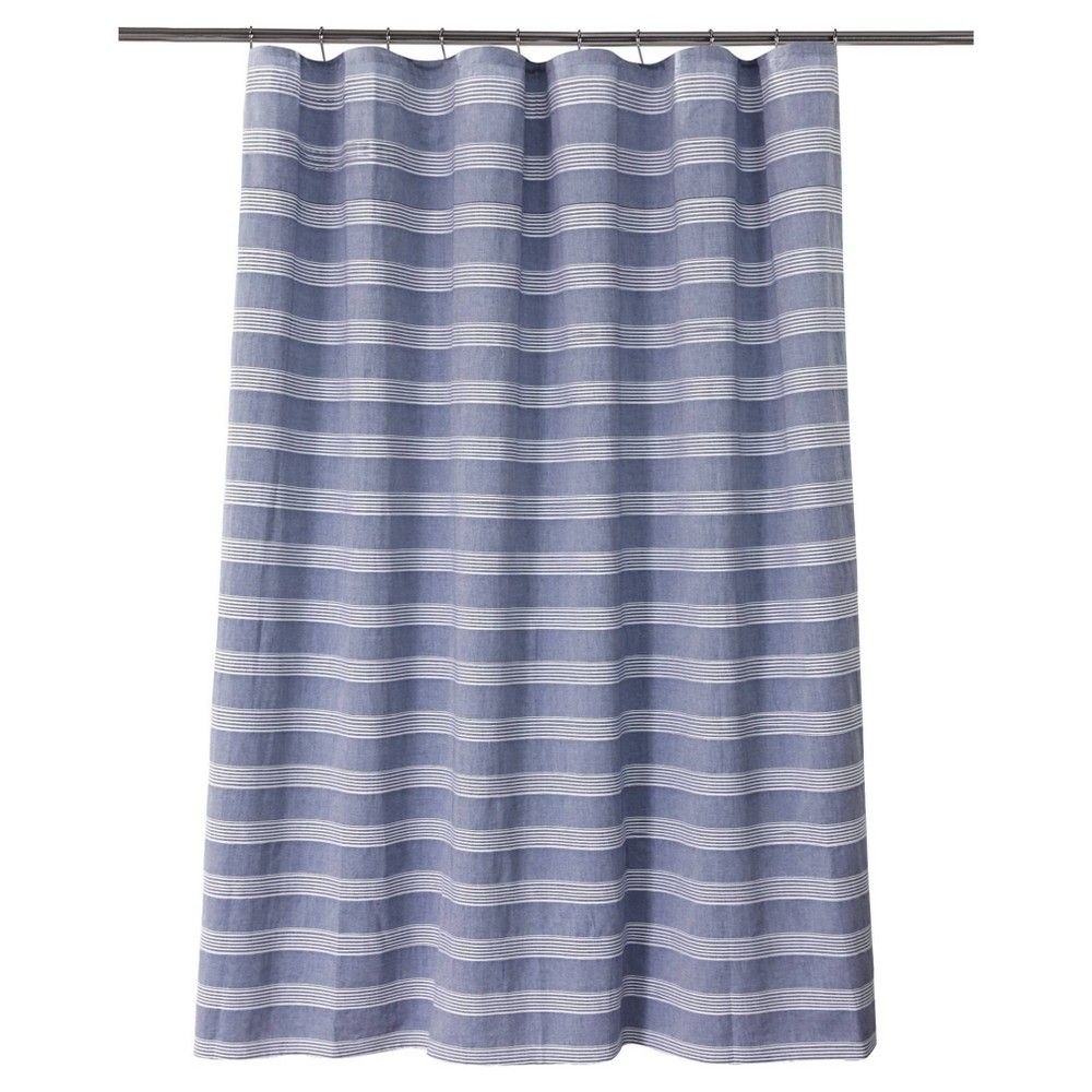 Chambray Stripe Shower Curtain Blue White Fieldcrest Striped