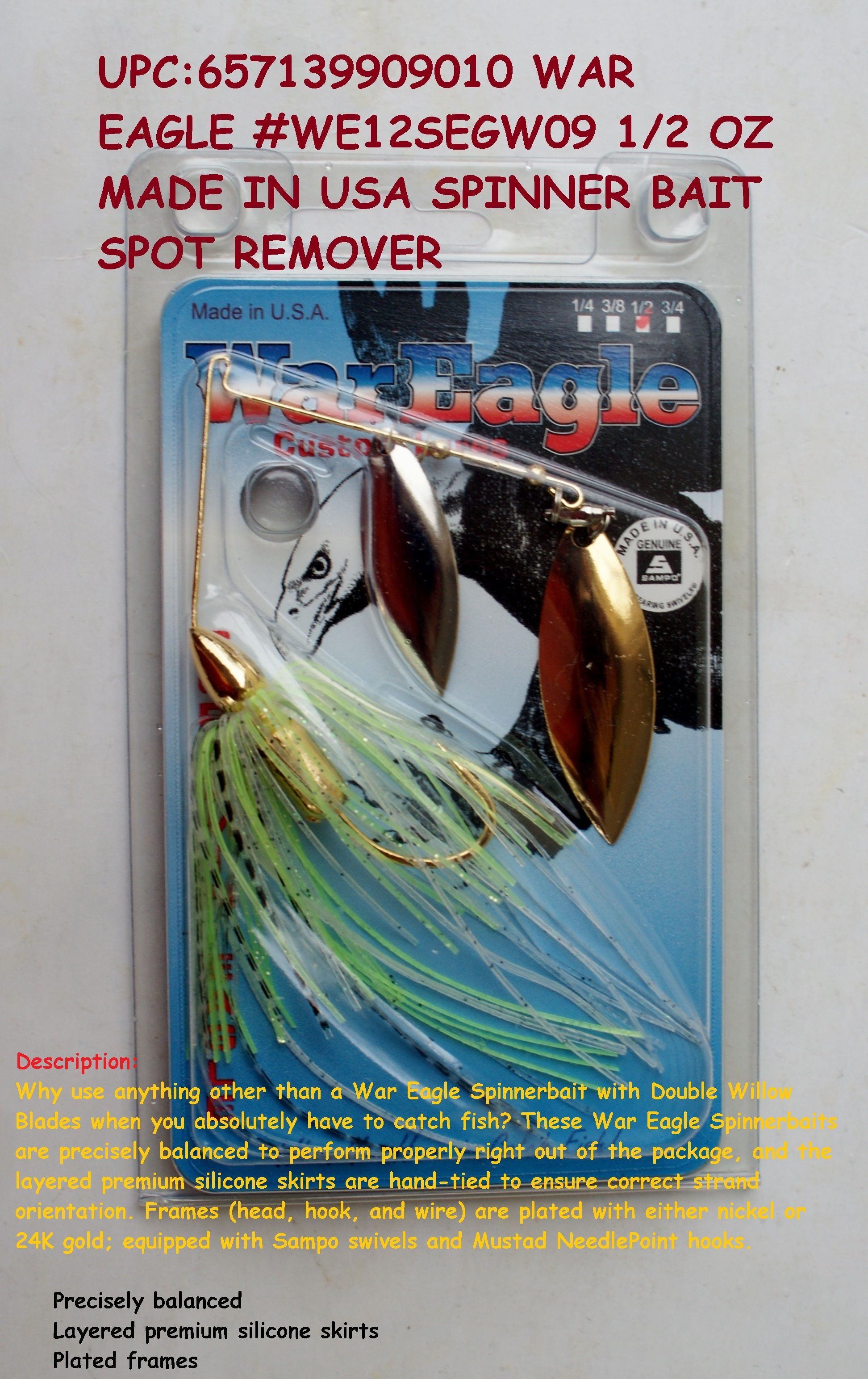 With 1 Plastic Colorado Blade Bass Fishing Lure DR Custom Spinnerbait 3//8 oz