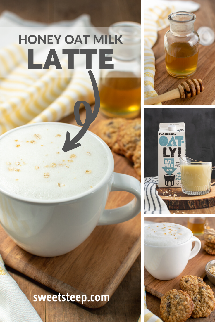 Honey oat milk latte recipe that can be made with espresso
