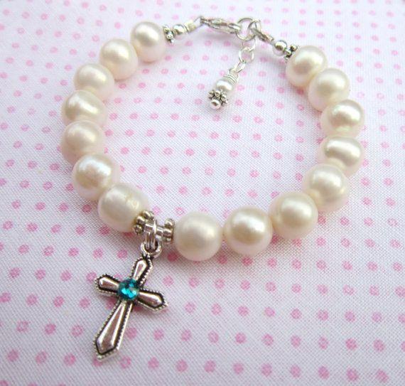 Baptême Communion Cadeau filles perle d/'eau douce silver cross bracelet