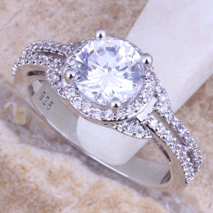 Fascinerende Wit CZ 925 Sterling Zilveren Ring Voor Vrouwen Maat 5/6/7/7.5/9 S0445