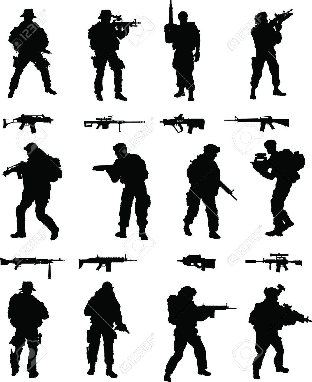 Silhouettes Military Cliparts Stock Vector And Royalty