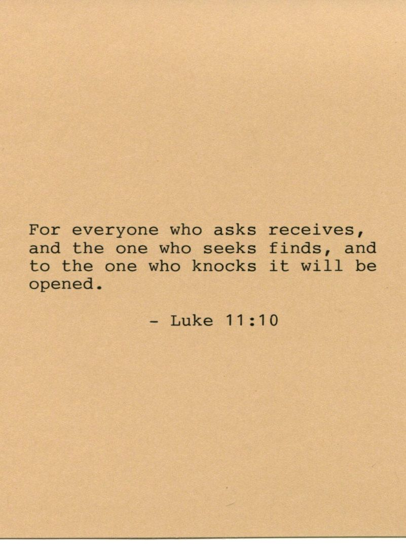 Luke 11:10 Bible Quote Made on Typewriter Art Quote Wall Art - For ...
