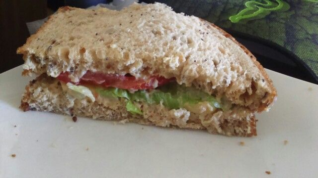 My Vegan Sandwich Soyafree Tesco Farmhouse Seeded Bread Hummus Used Instead Of Butter And Mayo Violife Cheese Tomato Recipes Food Healthy Recipes