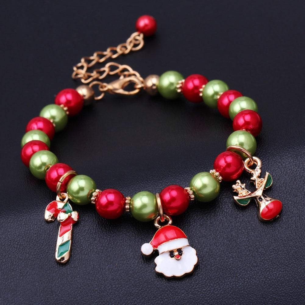Christmas Charm Bracelet Reindeer Beaded Charm Bracelet Reindeer Charm Bracelet Christmas Reindeer Beaded Charm Bracelet