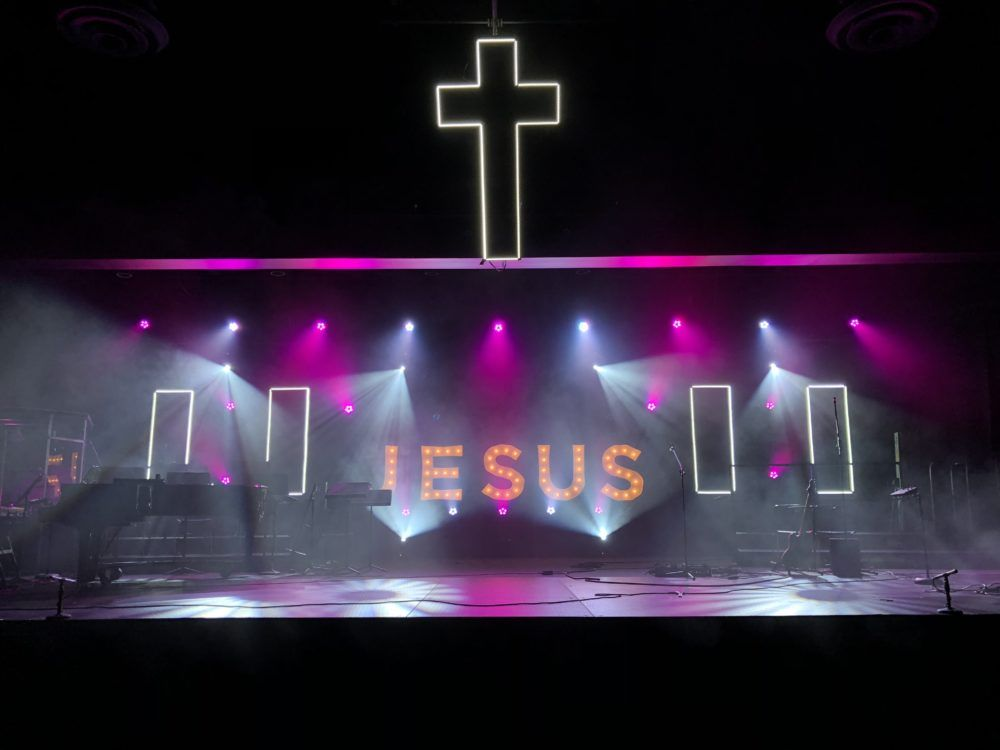 Bridge Idea Use Current Black Peg Board To Create Jesus With Patio Light And Use Led Strips Stage Lighting Design Church Interior Design Church Stage Design