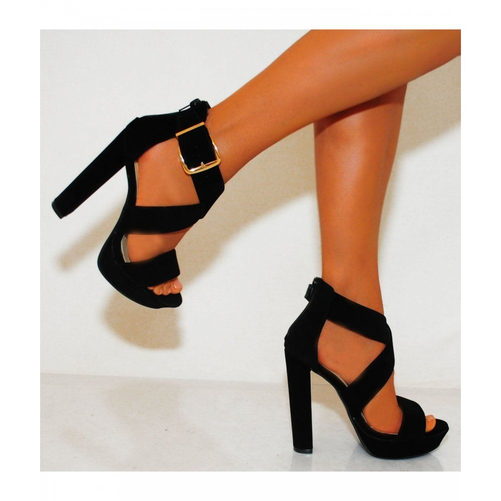 Details about SIZE 7 UK LADIES BLACK STRAPPY SANDALS ANKLE STRAP ...