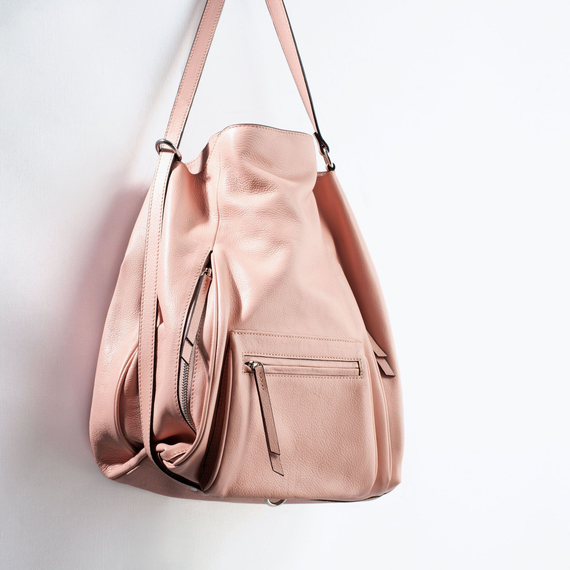 Image 4 of LEATHER BUCKET BAG WITH FRONT POCKET from Zara