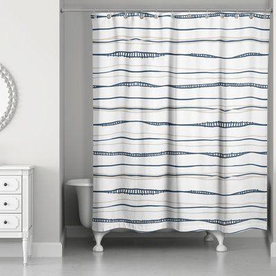 17 Stories Fanette Wavy Single Shower Curtain Bird Shower Curtain Curtains Fabric Shower Curtains