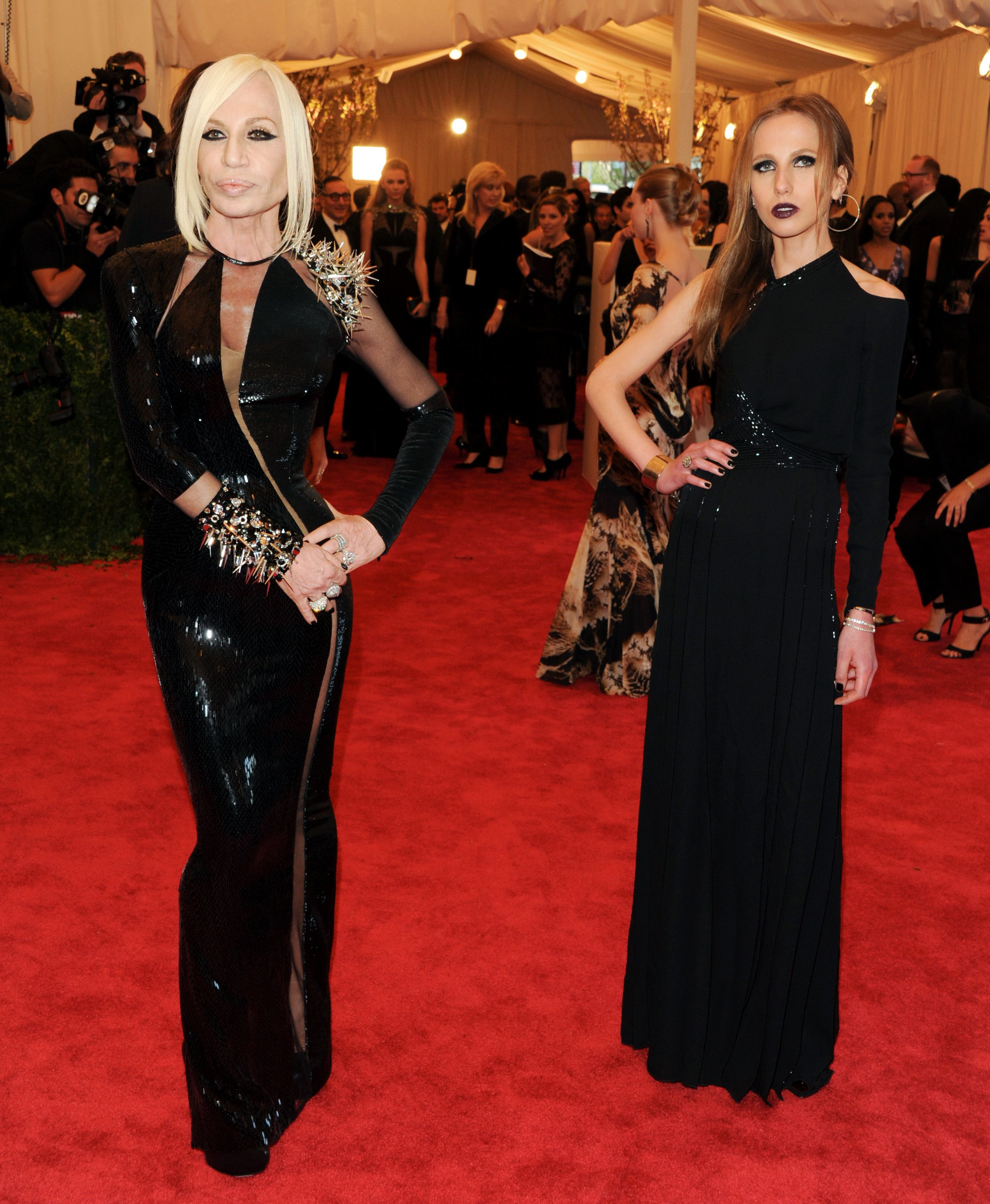 Donatella Versace And Daughter Wearing Versace Couture Fashion