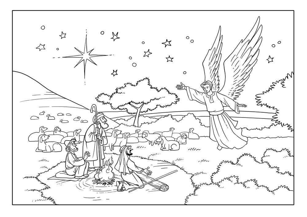 angels visit shepherds coloring pages coloring pages