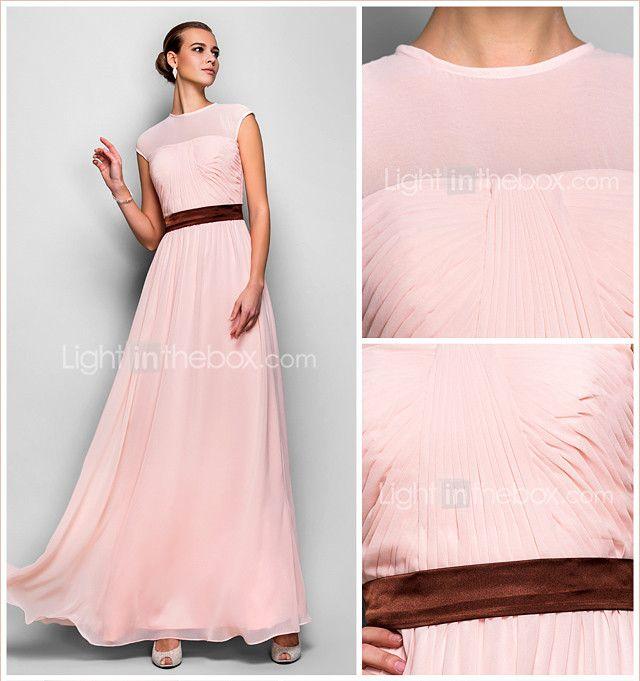A-Line Jewel Neck Floor Length Georgette Prom Formal Evening ...