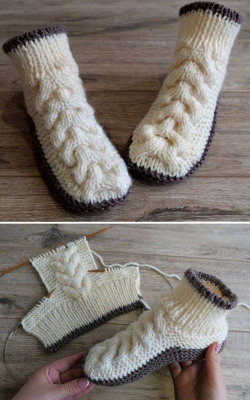 Photo of Wool Cable Slippers – Free Knitting Pattern,  #cable #Free #Knitting #knittingpatterns #patte…