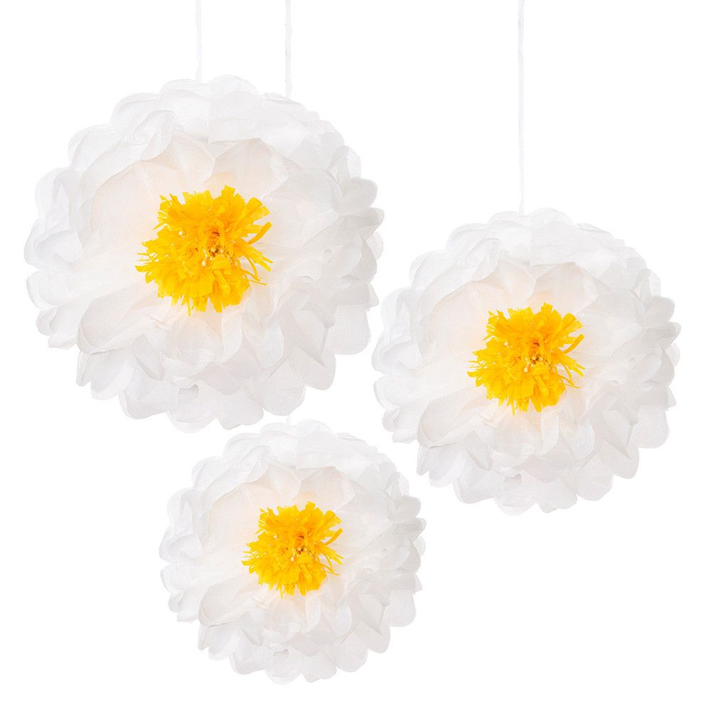Daisy flower pom poms hanging decorations daisy pom poms white poms with a flower like yellow gold center party hanging decorations for your big event made by talking tables and sold by bonjour izmirmasajfo