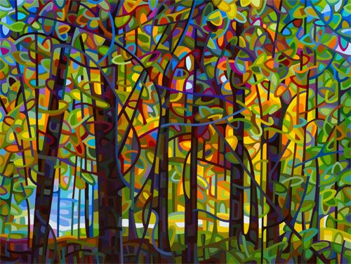 Standing Room Only by Mandy Budan | contemporary abstract landscape painting fall autumn forest light trees