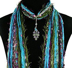 allthingspeacock - Peacock Jewelry Scarf Necklace 32.00