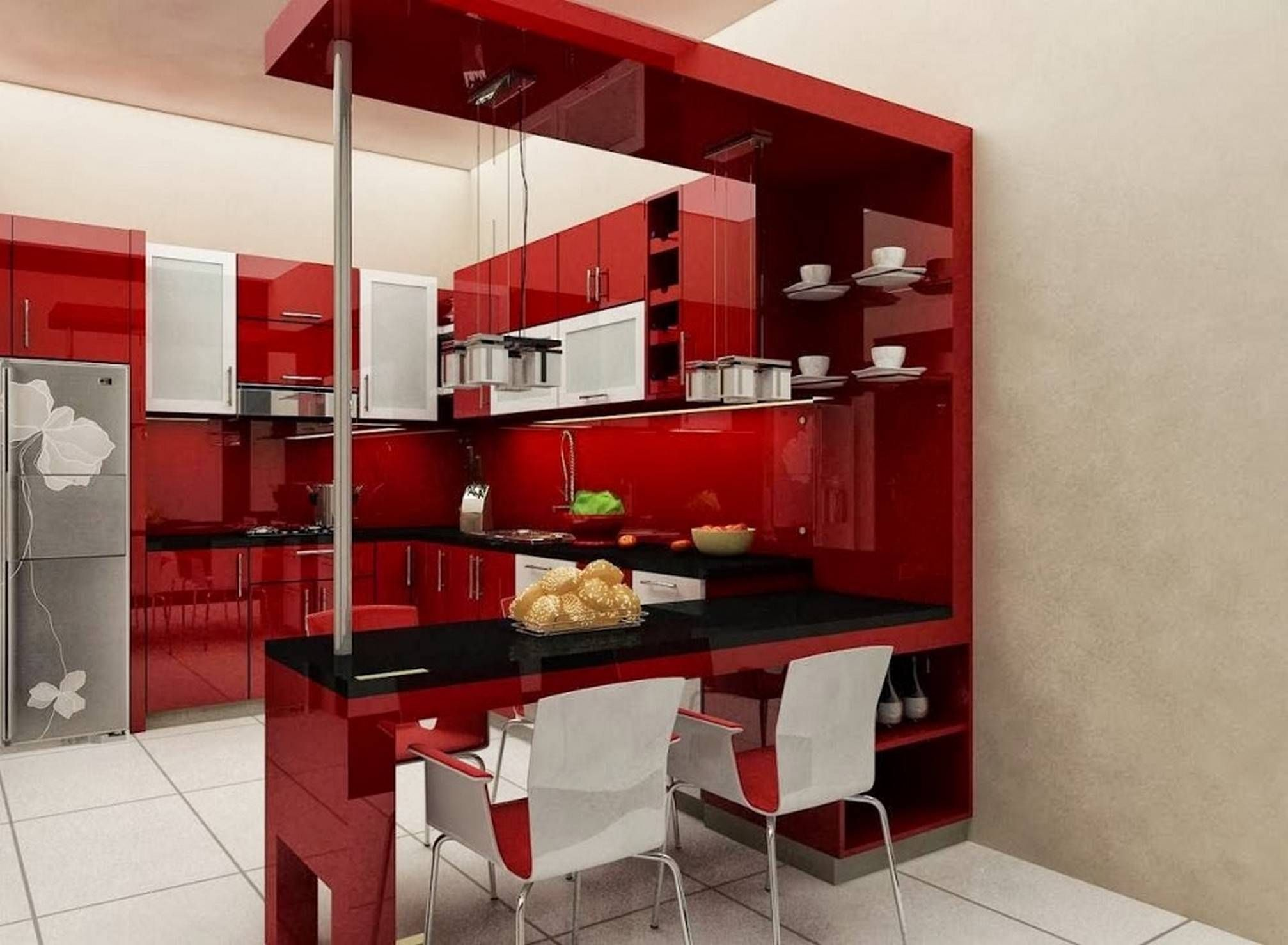 Minimalist interior concept with red kitchen cabinets for