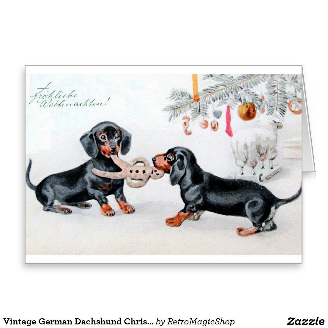 Vintage German Dachshund Christmas Card Zazzle Com Vintage