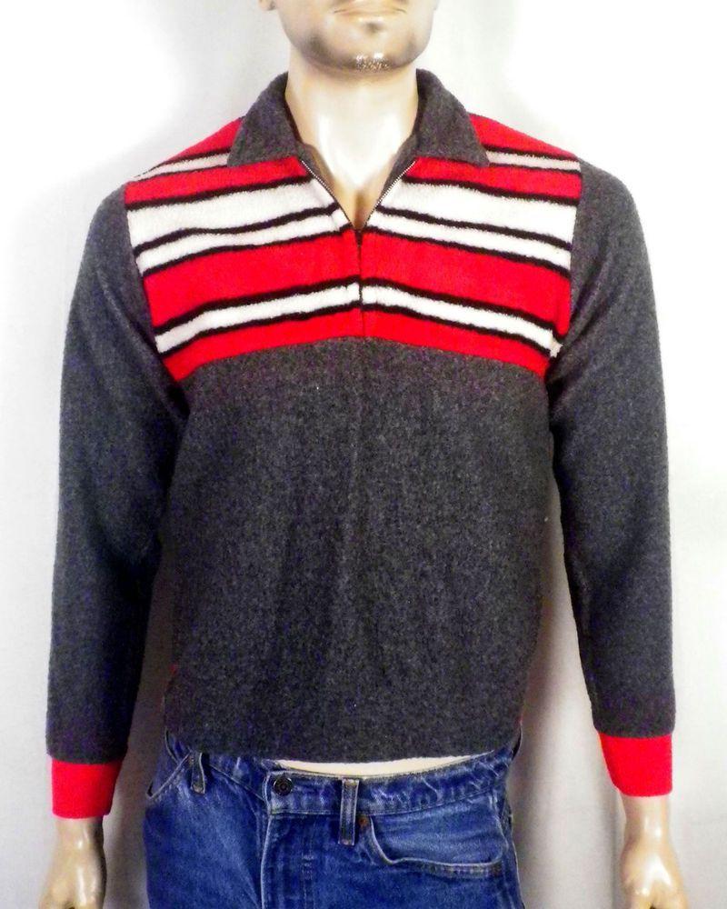 Vtg 50s Rockabilly Mens Striped Fleece Collared Sweatshirt Pullover