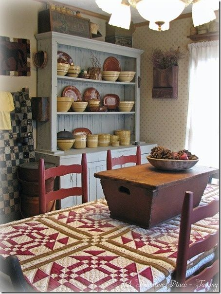 Prim dining room love the quilt box on the table and for Dining room quilter