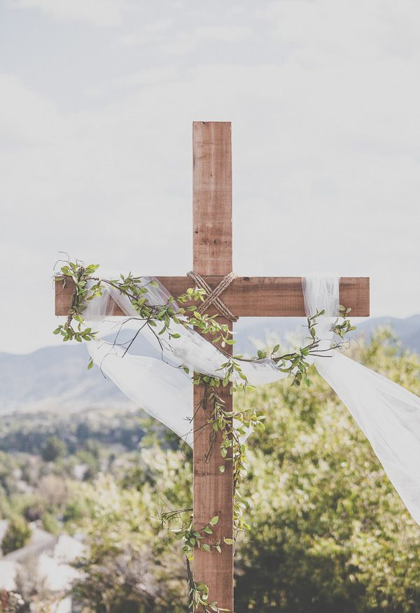 Wooden Cross White Flowing Fabric Leaves Alicia Gines