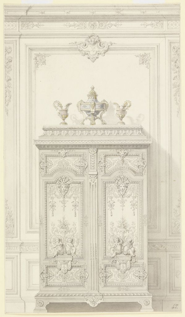 Drawing, Design for a Bedroom Armoire in Louis XVI Style (Armoire p