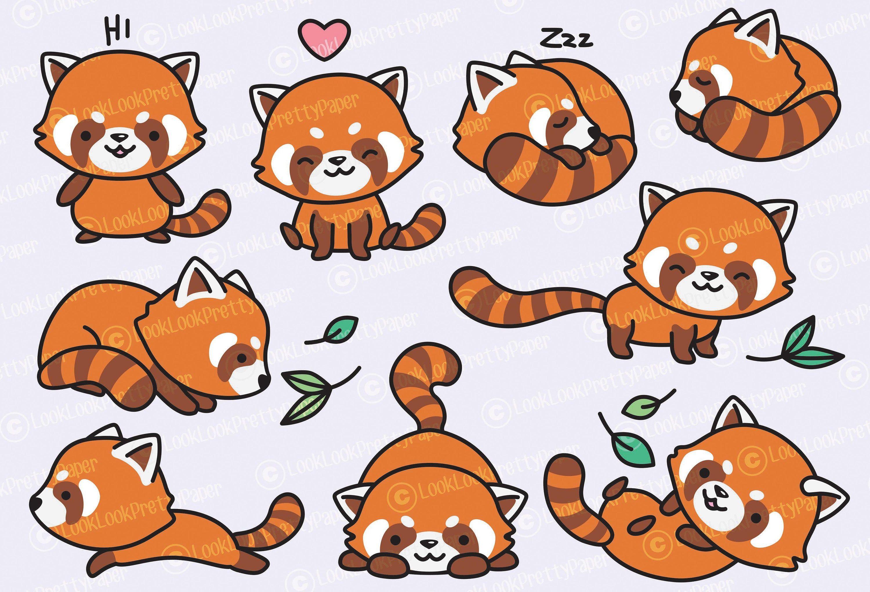 Premium Vector Clipart Kawaii Red Pandas Cute Red Panda Etsy Red Panda Cute Kawaii Clipart Panda Drawing