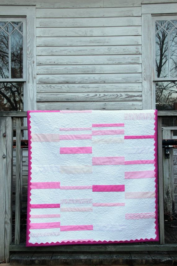 Modern Baby Quilt/ Pink/Ric Rac Trim/Girly/Polka Dot