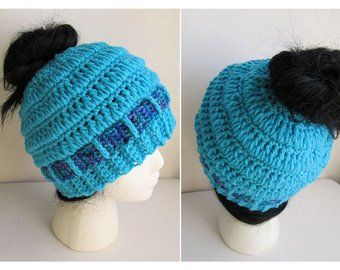Messy Bun Hat CROCHET PATTERN - Pattern for Crochet Ponytail Hat - Messy Bun Beanie Pattern - Knit C #messybunhat