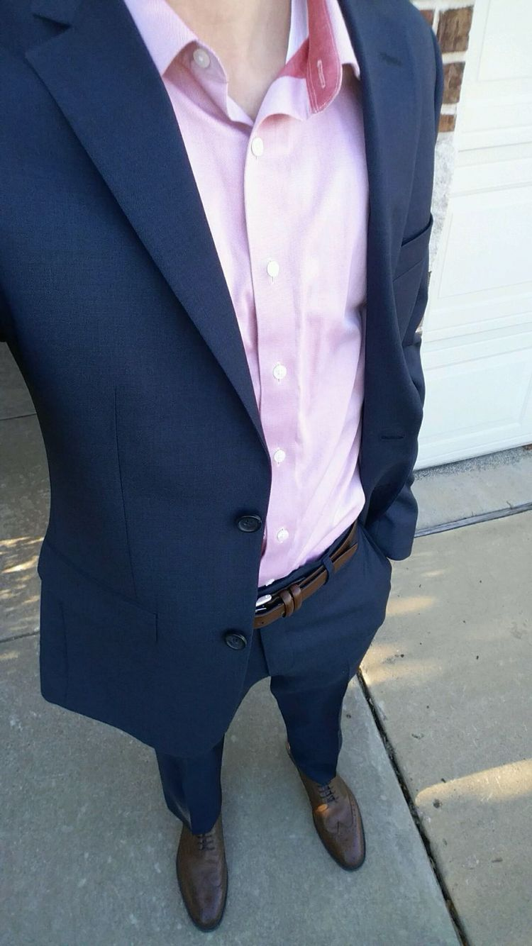 Navy Blue Suit Pink Shirt