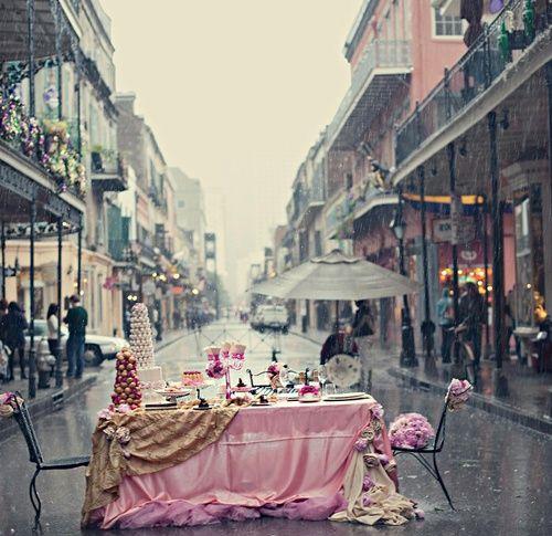 Imagen de pink, rain, and street