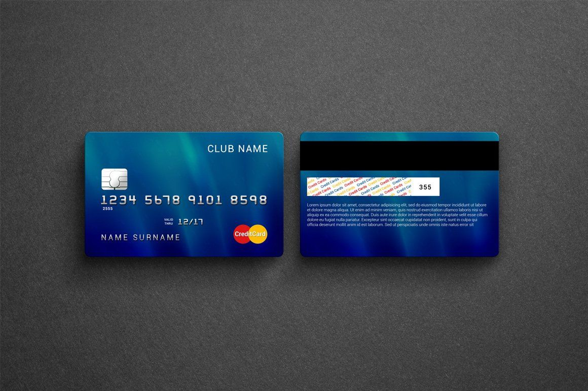 Credit bank card mockup credit card design business